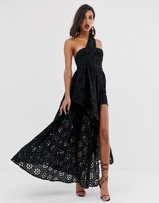 Asos Edition EDITION broderie dress with maxi skirt overlay-Black