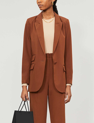 Topshop Padded-shoulder stretch-twill blazer
