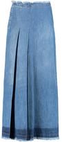 See by Chloe Frayed Pleated Denim Maxi Skirt