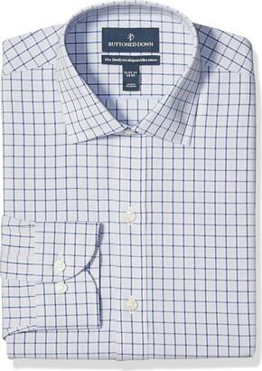 "Buttoned Down Xtra-slim Fit Pattern Non-iron Dress Shirt Grey/Blue Windowpane Check 15.5"" Neck 32"" Sleeve"