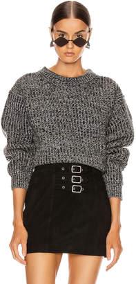 Acne Studios Rib Crewneck Sweater in Grey & Dark Grey | FWRD
