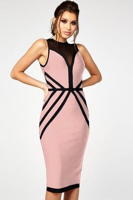 The Girlcode Pink & Black Contrast Bandage Midi Dress