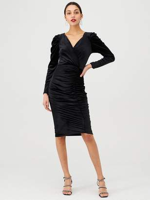 Very Velvet Wrap Midi Dress - Black