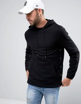 Asos Hoodie With Side Poppers In Black