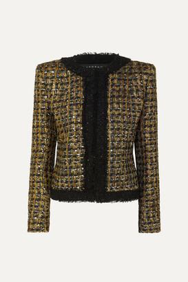 Balmain Button And Sequin-embellished Metallic Tweed Blazer - Black