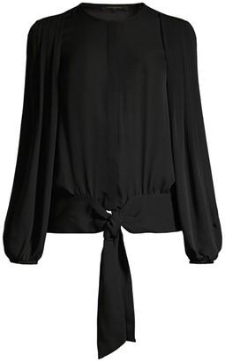 Kobi Halperin Francesca Pleated Blouson Tie-Waist Blouse