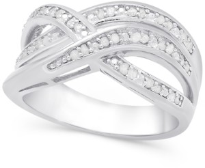 Townsend Victoria Diamond (1/4 ct. t.w.) Weave-Style Ring in Sterling Silver or 18k Gold-Plated Sterling Silver
