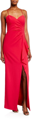 Parker Black Andy Sweetheart Side-Drape Column Gown