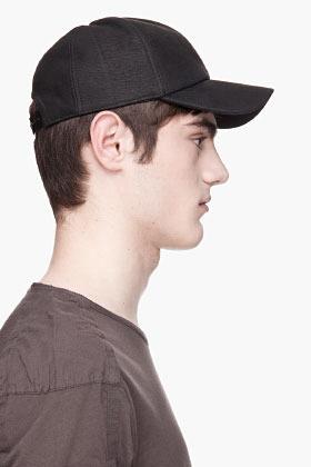 Rick Owens Black lambskin snapback cap