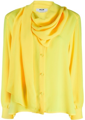 MSGM Draped-Detail Long-Sleeve Blouse