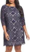 Eliza J Plus Size Women's Lace Shift Dress