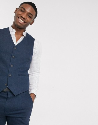 ASOS DESIGN wedding skinny wool mix suit suit vest in navy herringbone