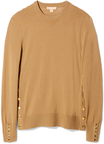 Michael Kors Long Sleeve Crewneck with Snaps in Chino, X-Small