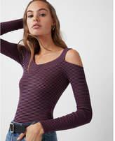 Express one eleven stripe cold shoulder thong bodysuit
