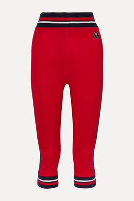 WE NORWEGIANS Voss Cropped Striped Stretch-merino Wool Leggings - Red