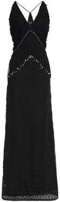 Just Cavalli Embellished Fringed Macrame Lace Maxi Dress