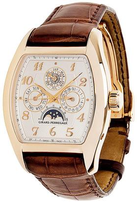 Girard Perregaux Silver 18K Rose Gold and Crocodile Leather Richeville 2722 Men's Wristwatch 40MM