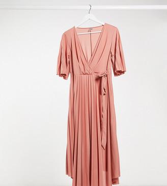 ASOS DESIGN Maternity kimono sleeve pleated wrap midi dress with tie waist in pink
