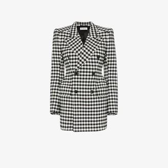 Balenciaga check wool hourglass waist wool blazer