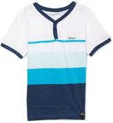 DKNY White & Tonal Blue Stripe Baseball Tee - Toddler & Boys