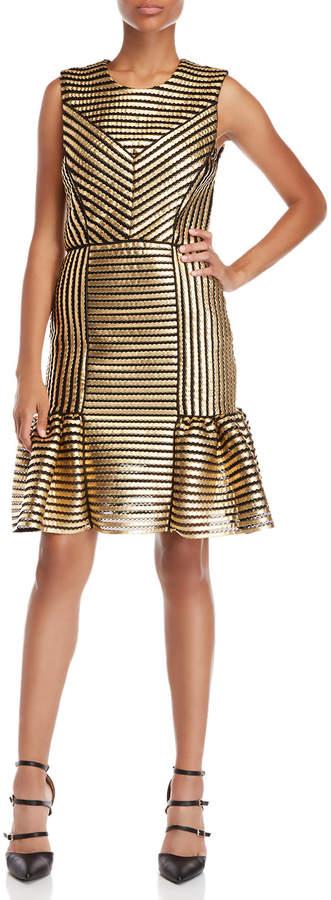 Maje Metallic Knit Flounce Dress