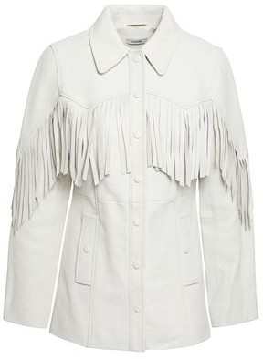 Ganni Fringed Textured-leather Jacket