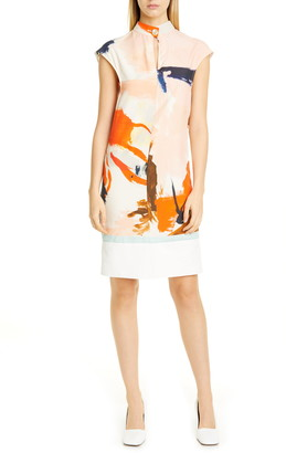 Proenza Schouler Drape Back Abstract Print Dress