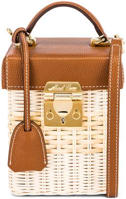 Mark Cross Grace Rattan Cube Bag in Acorn   FWRD