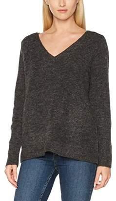 Melange Home VILA CLOTHES Women's Vicant V-Neck Knit Top-fav Jumper, Dark Grey Melange, 38 (Size: Medium)