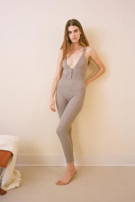Out From Under Grey Harley Thermal Jumpsuit - Grey XS at Urban Outfitters