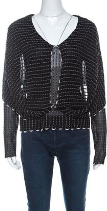 Roland Mouret Black Alpaca Weave Knit Charp Cape Overlay Top M
