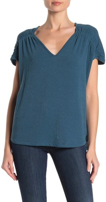 Pleione Shirred Short Sleeve Textured T-Shirt