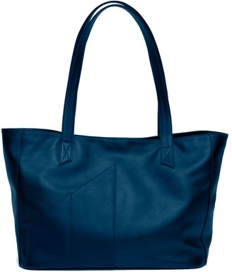 Holly & Tanager Commuter Leather Tote Bag In Navy