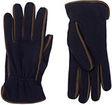 Barneys New York Men's Leather-Trimmed Knit Gloves