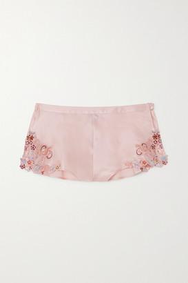 La Perla Maison Rainbow Embroidered Lace-trimmed Silk-satin Pajama Shorts - Blush