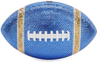 Judith Leiber Game Ball Football Crystal Clutch Bag, Blue/Gold