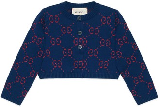 Gucci Baby GG cotton lame cardigan