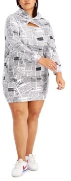 Full Circle Trends Trendy Plus Size Peek-a-Boo Hooded Dress