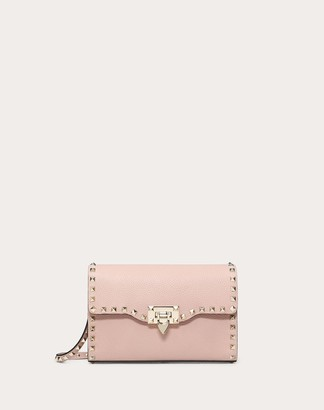 Valentino Small Rockstud Grainy Calfskin Crossbody Bag Women Water Rose Calfskin 100% OneSize