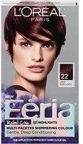 L'Oreal Hair Color Feria Multi-Faceted Shimmering Color, 22 Bordeaux Bombshell (Deep Burgundy)