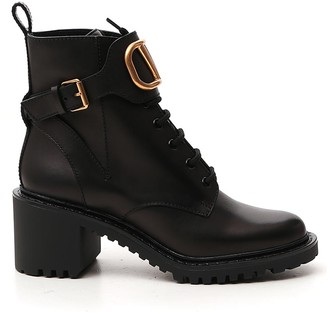Valentino VLogo Applique Buckled Boots