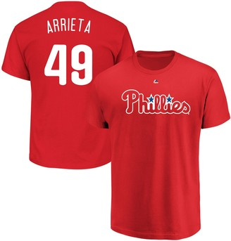 Majestic Men's Jake Arrieta Red Philadelphia Phillies Official Name & Number T-Shirt