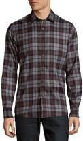 Saks Fifth Avenue BLACK Men's Plaid Microfiber Button Down Shirt