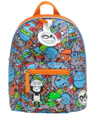 "Babymel Zip & Zoe Mini 10"" Kid' Backpack & afety Harne - Robot"