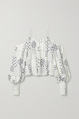 By Malene Birger Cold-shoulder Printed Twill Blouse - White