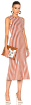 Victoria Beckham Wide Stripe Intarsia Fitted Kick Dress in Stripes,Orange,White.