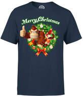 Nintendo Donkey Kong Diddy Kong Merry Christmas Wreath Thumbs Up T-Shirt - Navy