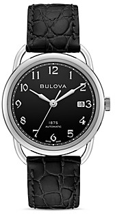 Bulova Limited Edition Joseph Commodore Black Alligator-Embossed Leather Strap Watch, 38mm