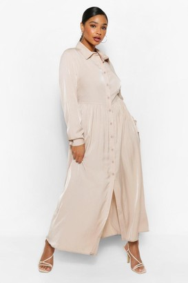 boohoo Plus Oversized Maxi Shirt Dress
