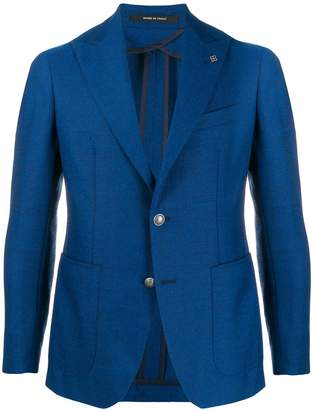 Tagliatore single-breasted logo pin blazer